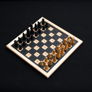 Wooden chess and checker set