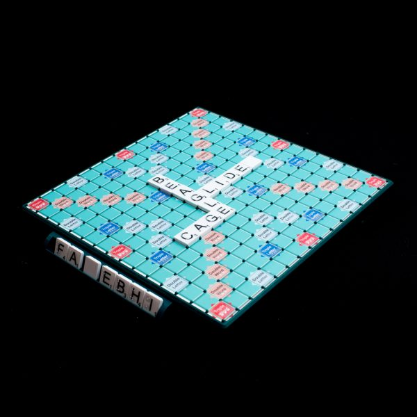 Scrabble board game with low vision letter tiles