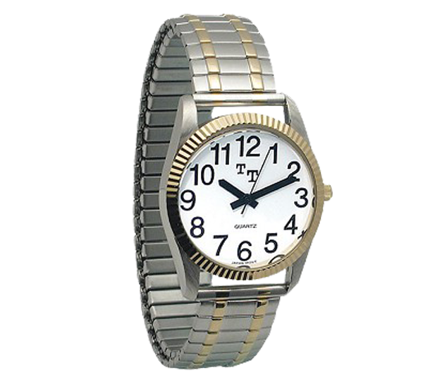 A chrome and gold low vision wrist watch