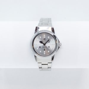 Small chrome tactile watch with braclet strap