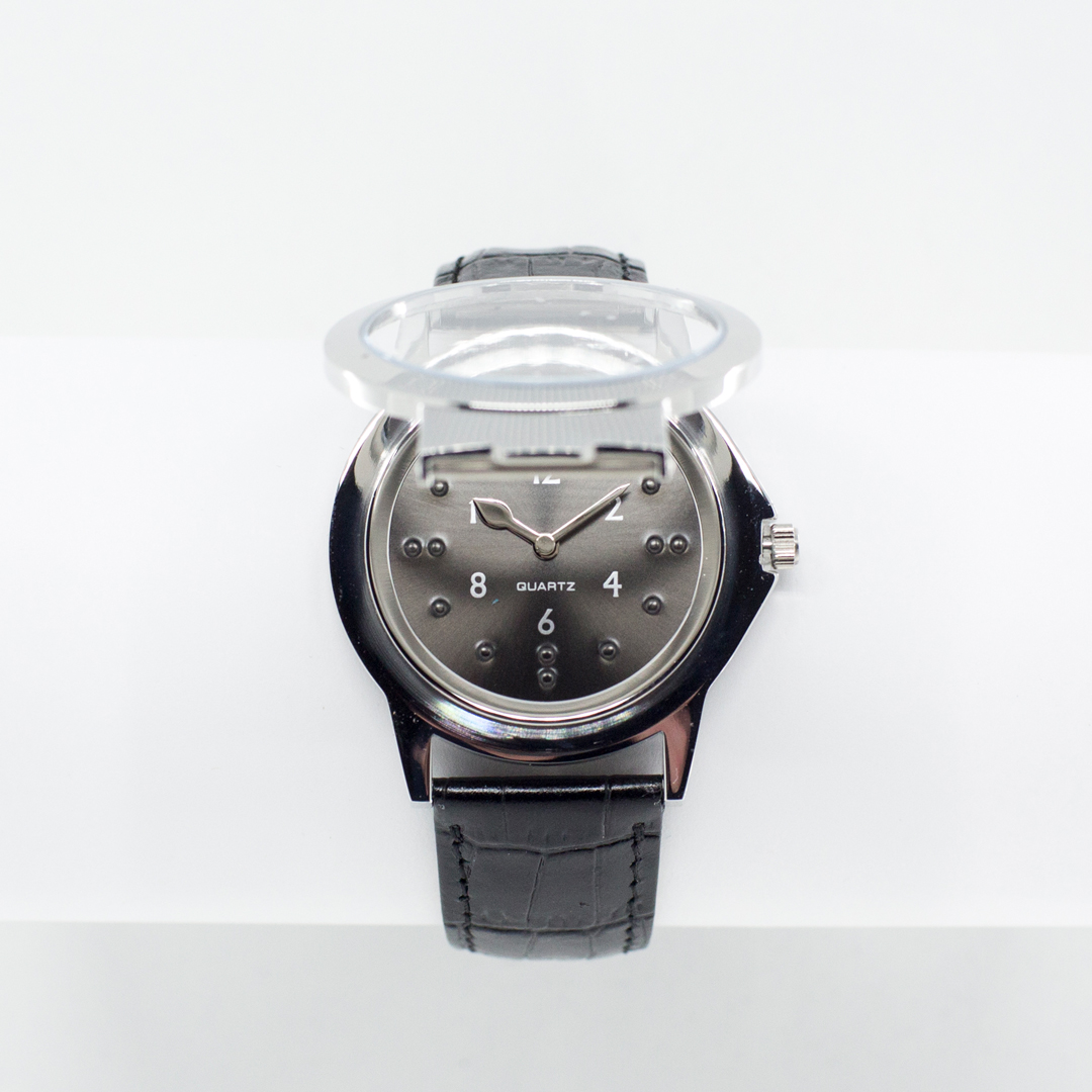 Chrome tactile watch with protective lid