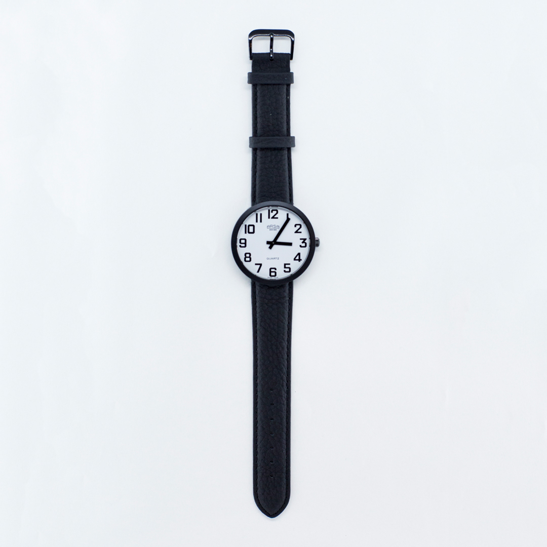 Jumbo sized low vision watch with white face and black numbers