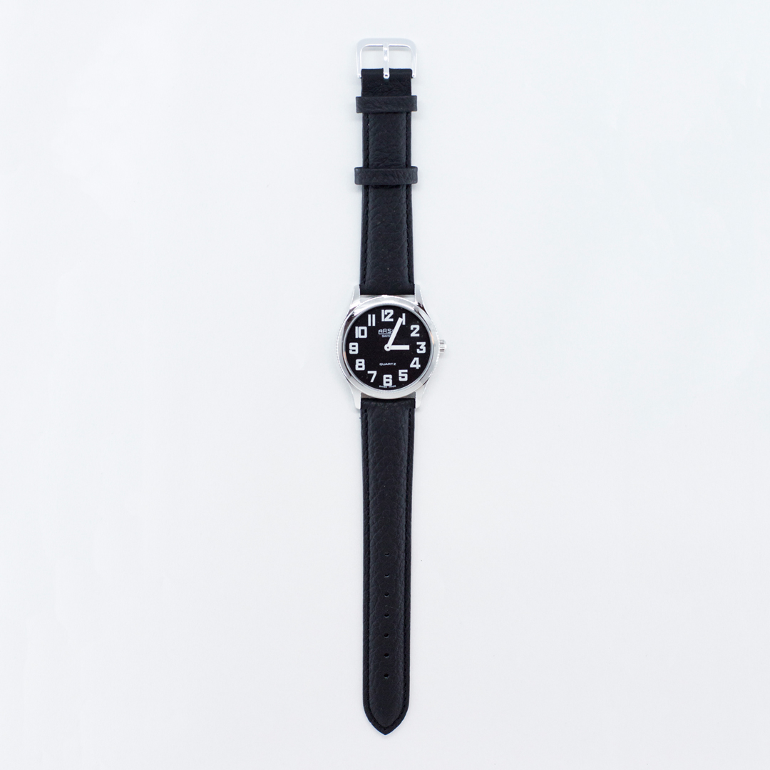 Black face large print watch with leather strap