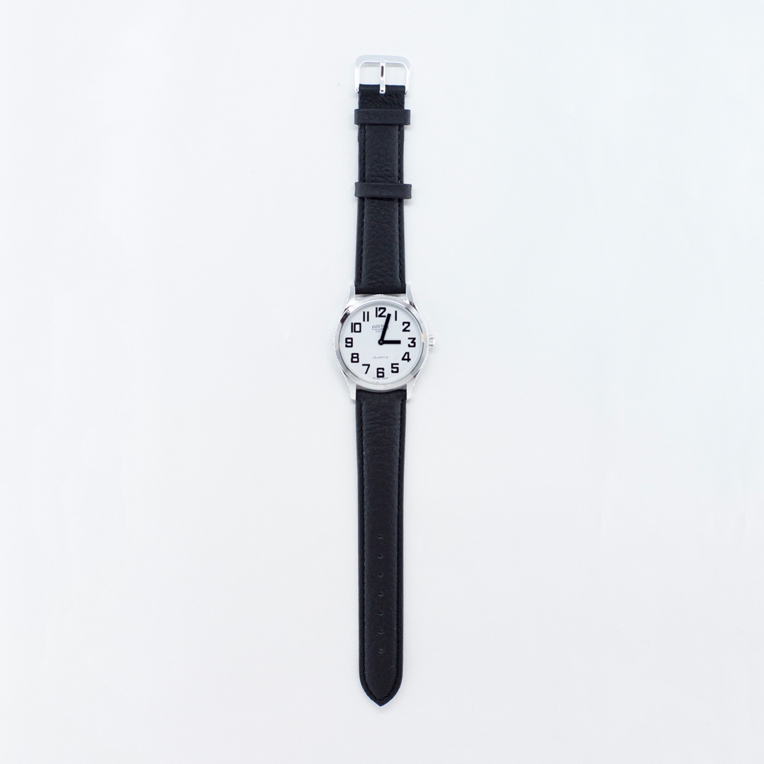 White face large print watch with leather strap