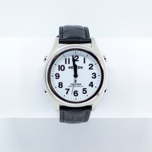 Chrome watch with large print numbers and talking feature
