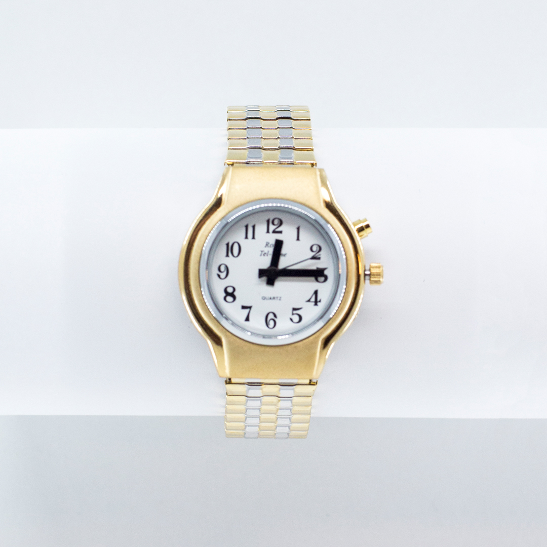 Small gold watch with talking feature