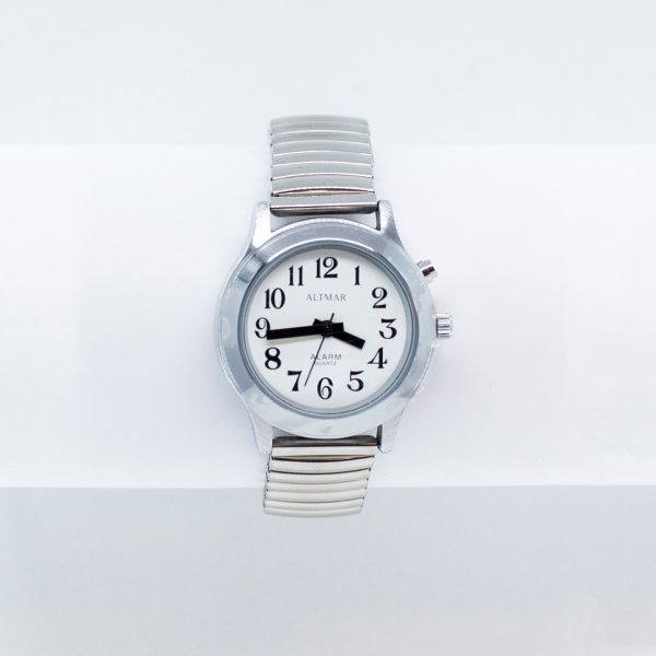 Chrome low vision talking watch with silver braclet strap