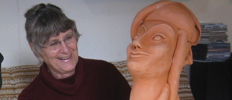 Patricia with her sculpture