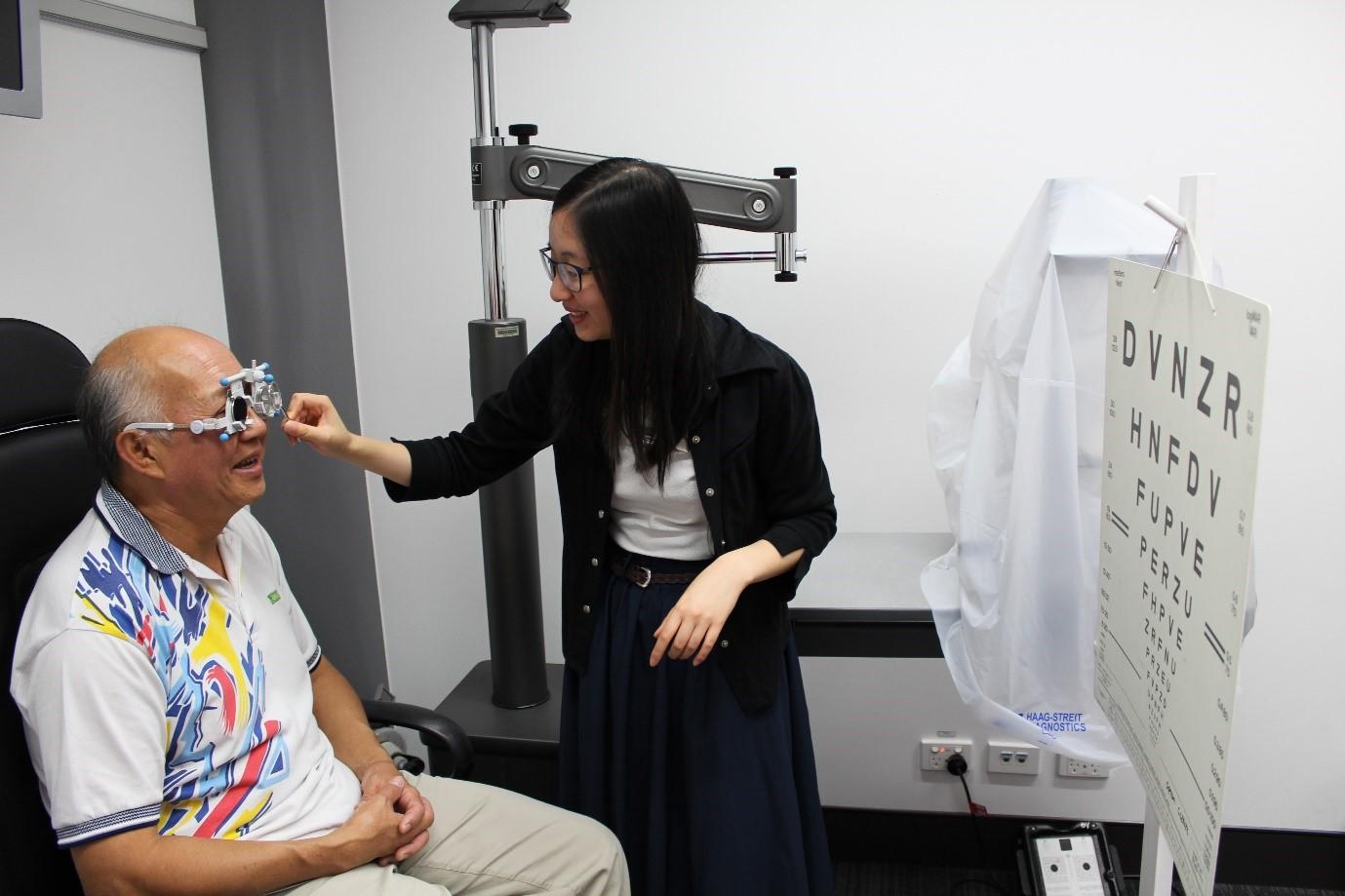 Blind Foundation member Benny Foar has a practice eye test.