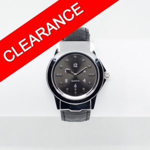 Large stylish chrome and black tactile watch