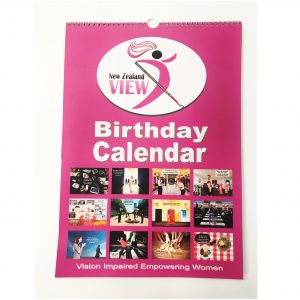 pisture showing the pink front cover of the birthday calendar
