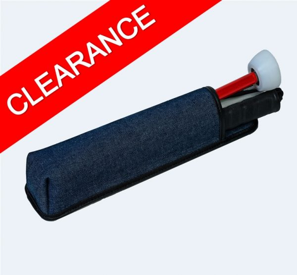 Blue denim cane pouch for folding canes