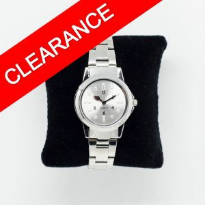 small chrome tactile watch with bracelet strap