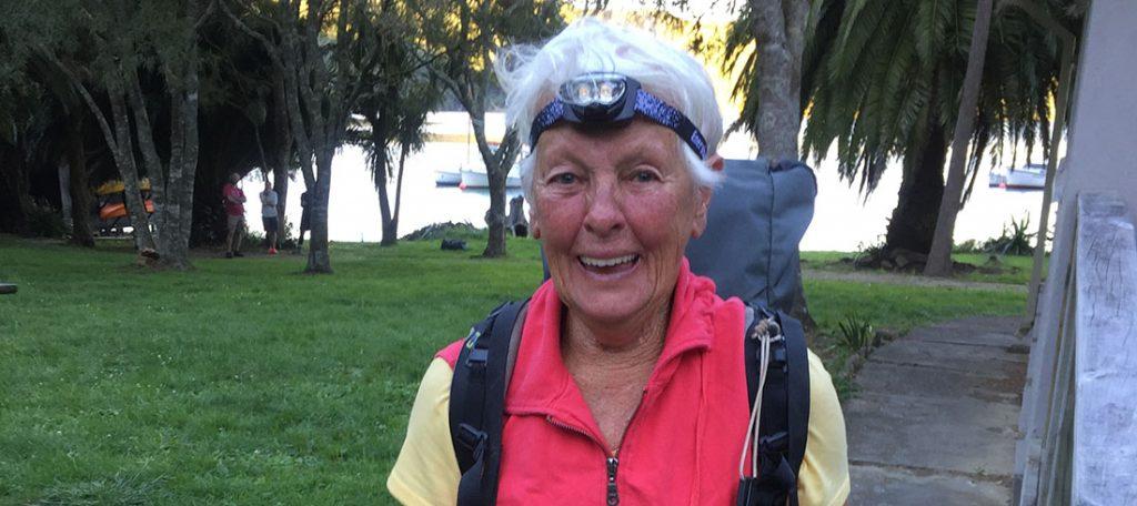 June Hieatt in outdoor gear.