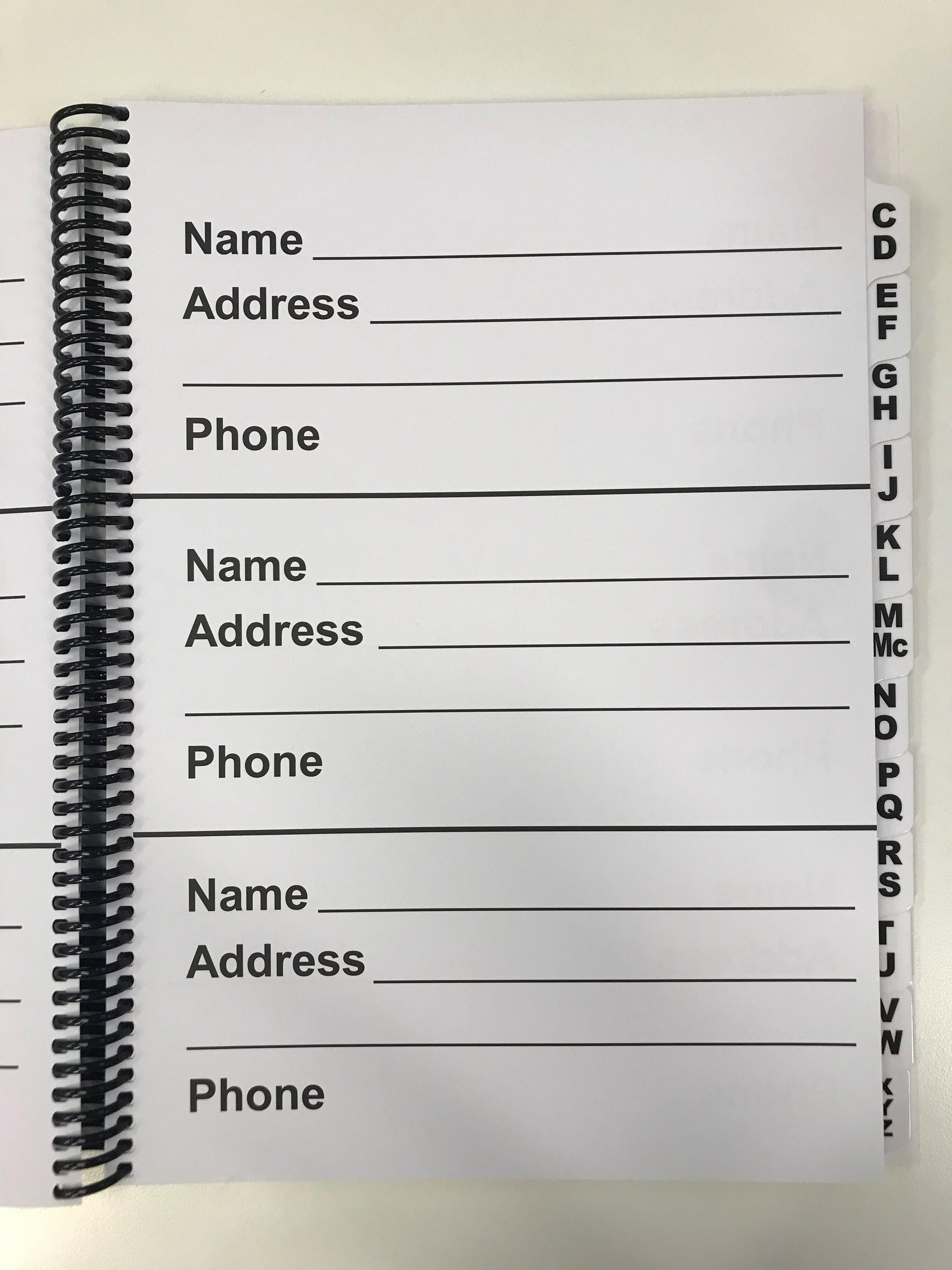 blind foundation large print address book