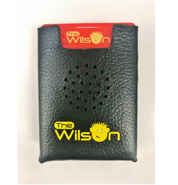 The Wilson Voice Recorder sitting inside its black carry pouch