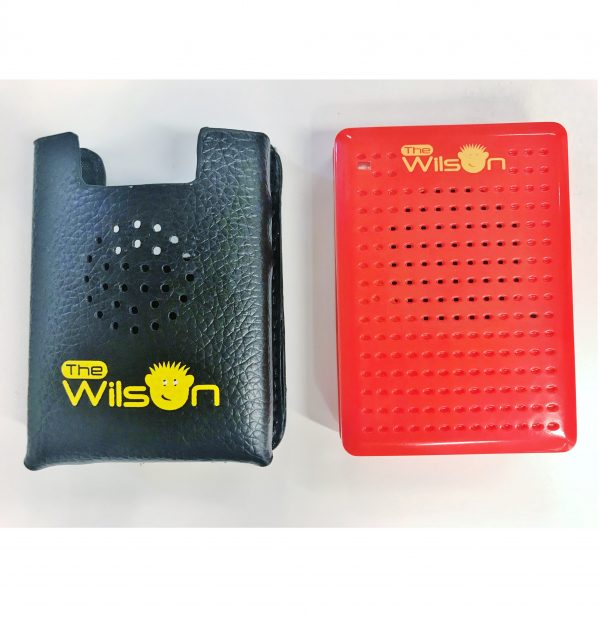 The Wilson Voice Recorder sitting beside its black carry pouch