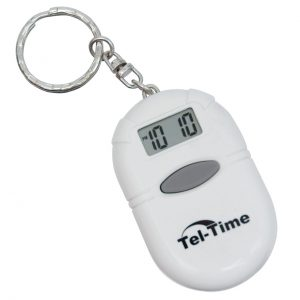 Small white portable talking clock on a keychain with an LCD display and grey button which speaks the time when pressed.