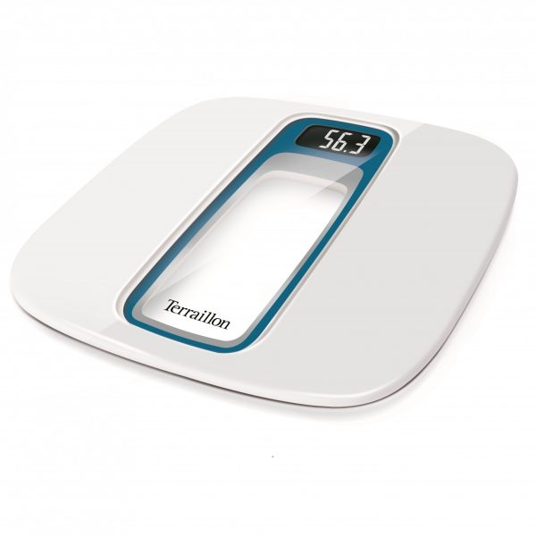 White talking bathroom scales with with a clear panel in the middle
