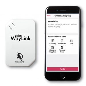 Image showing the WayLink Scanner and an iPhone with the WayAround app open on it