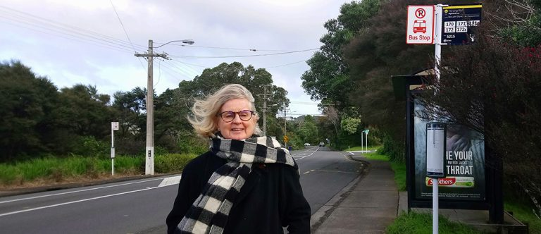 Vicki Hilliam at her local bus stop.