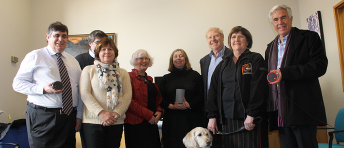 Dr Marjorie Barclay Trust members with Blind Foundation representatives checking out the technology