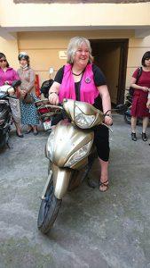 Julie on ha's scooter