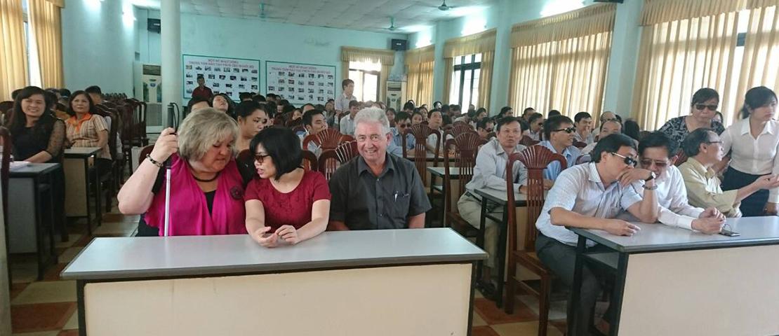 Julie Woods visit Hanoi Blind Association