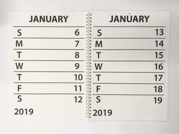 2019 A4 Book Calendar Week per page