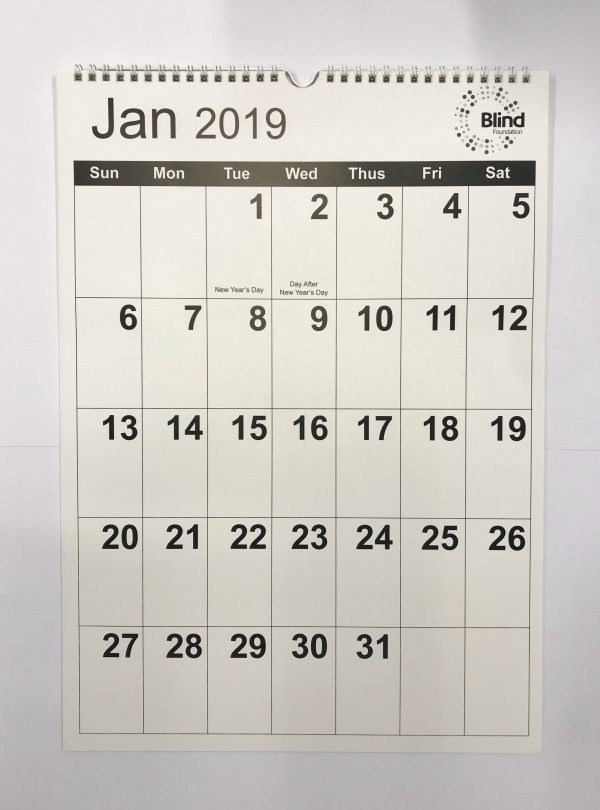 2019 Wall calendar month per page