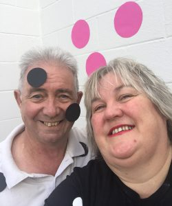 Braille advocate Julie Woods and her husband Ron covered themselves in dots in Dunedin.