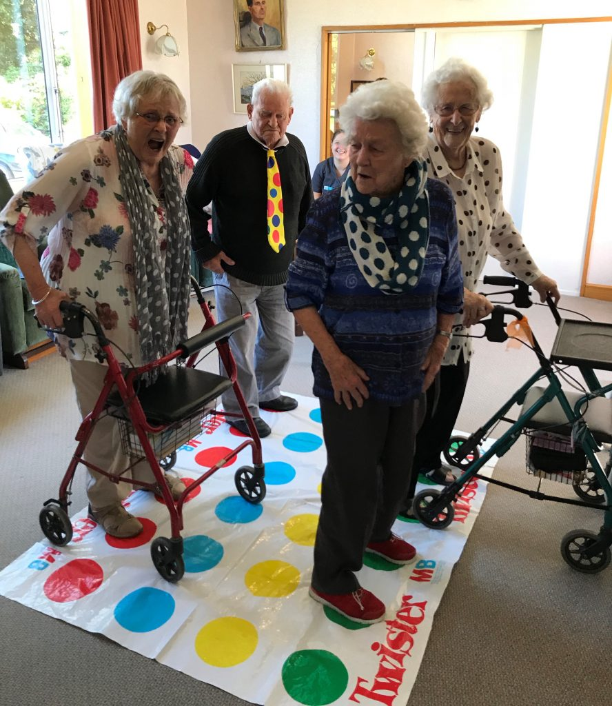 Heather Fitzgerald sent in this photo of Methven House Resthome residents wearing spotted outfits and playing twister