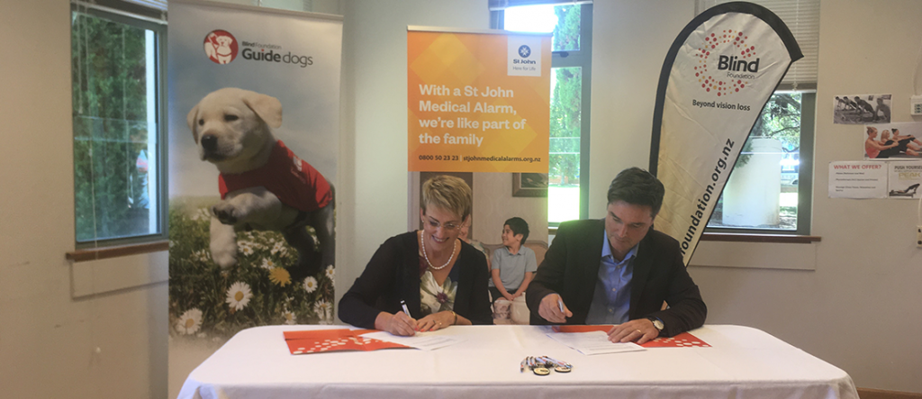 Blind Foundation Chief Executive Sandra Budd and St John Director of Customers, Supporters and Commercial Services sign the agreement.
