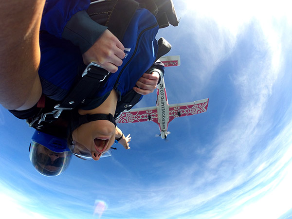 Two people just jump out from the skydiving plane