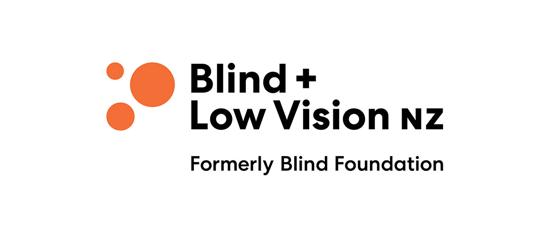 blind and low vision New Zealand logo which is three orange dot with black text