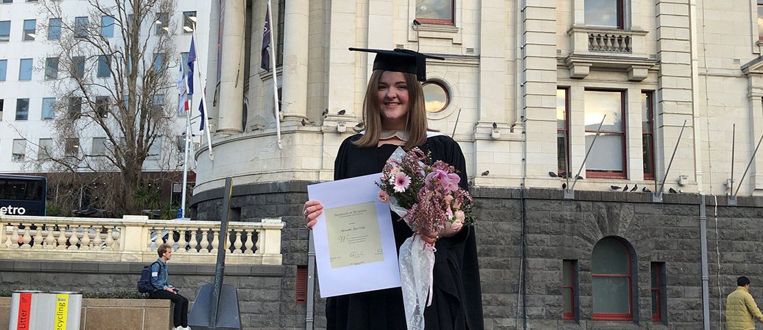 Samantha Oxley in her graduation gown.