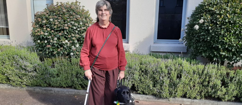 Judy Small with her guide dog
