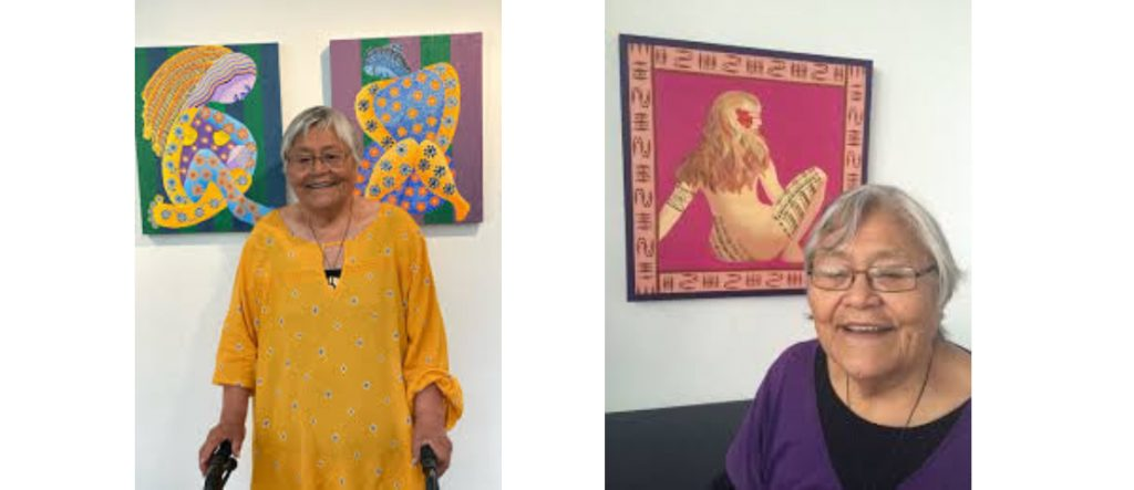 two photo shows that Pusi Urale with her arts work