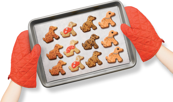 A tray of puppy shaped biscuits