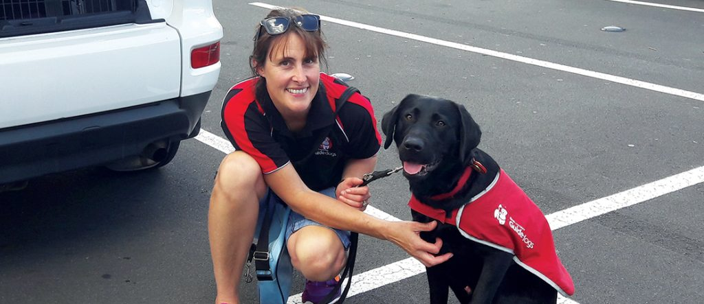 Black Labrador puppy in a red coat with his guide dog trainer