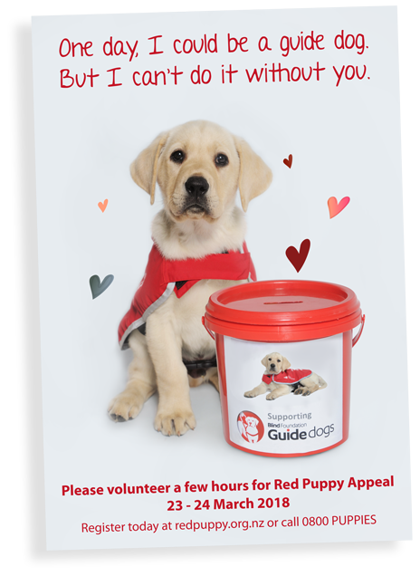 Red Puppy Appeal volunteer recruitment poster