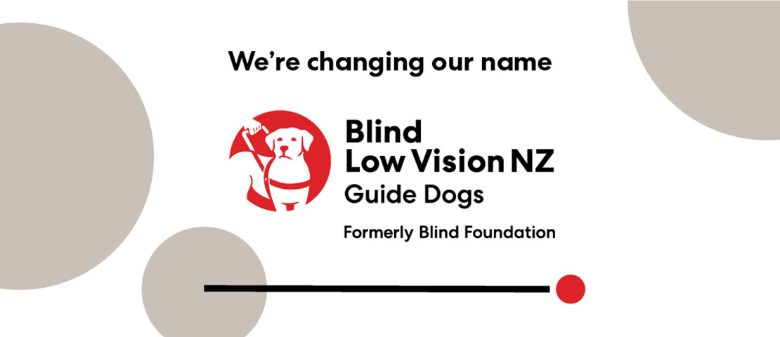 """Guide dog logo with black text """"We're chaing our name"""" on top and three grey cirles on a white background"""
