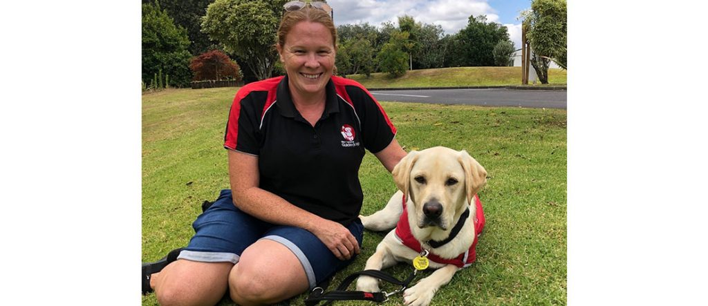Rochelle Corrigan, Puppy Placement and Development Manager, with guide dog puppy Kato whose journey is documented in the show