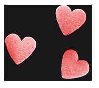 three pink heart sprinkles