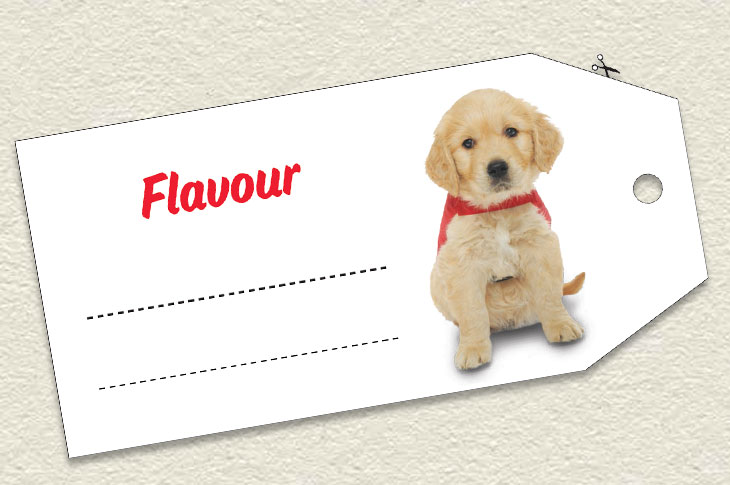 Cut out of a flavour tag with a picture of a puppy