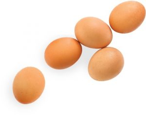 five brown chicken eggs