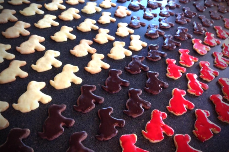 Red brown and white iced puppy shaped biscuits