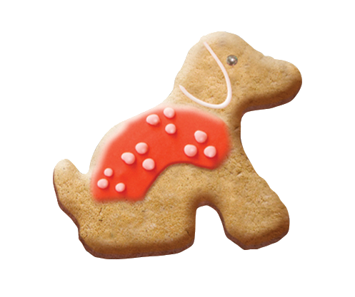 Puppy shaped biscuit with a red iced coat
