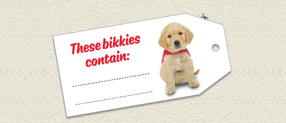Cut out off a Bikkie Day ingredient tag